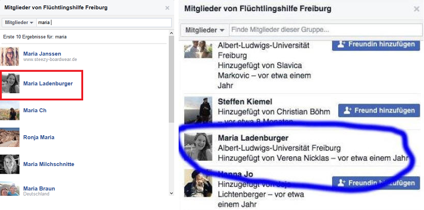 Bilder über die mögliche Mitgliedschaft in der Flüchtlingshilfe Freiburg. Quelle: Facebook