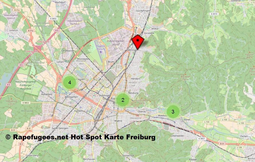Hot Spot Karte über schwere Sexualdelikte in Freiburg, darunter der Tatort des Opfers