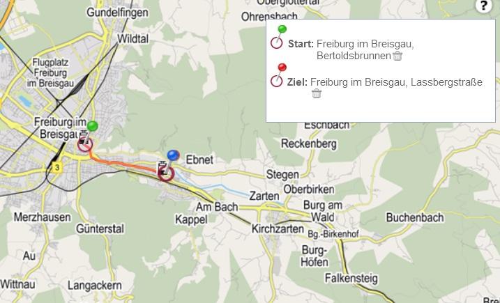 Zurückgelegte Fahrtstrecke Tataben Quelle: Freiburger Verkehrs AG